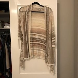 striped cardigan with 3/4 sleeve length